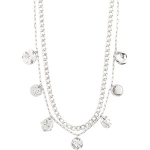 COLLIER POESY PLAQUE ARGENT CRYSTAL